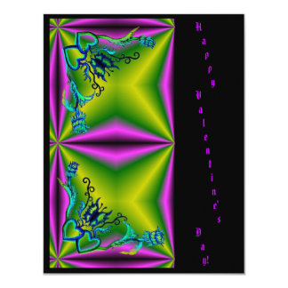 Valentine's Day - Butterfly Flowe Heart on Rainbow 11 Cm X 14 Cm Invitation Card