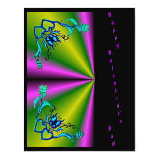 Valentine's Day -Butterfly Flower Heart on Rainbow 11 Cm X 14 Cm Invitation Card