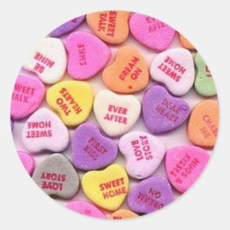 Valentine's Day Candy Hearts Round Sticker