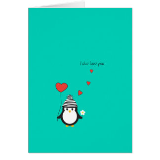 Valentine's Day Card - Cute Penguin Illustration