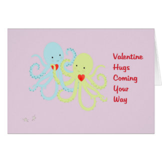 Valentine's Day Card with Colorful Octopuses