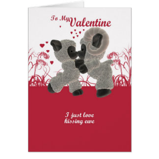Valentine's Day Card With Cute Kissing Sheep