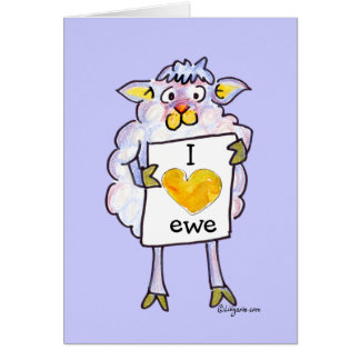 Valentines Day Cartoon Sheep Greeting Cards