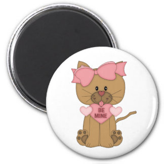 Valentines Day Cat Be Mine 6 Cm Round Magnet