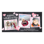 Valentine's Day Chalkboard Lovely Hearts Collage Customized Photo Card