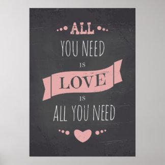 Valentine's Day Chalkboard Style Poster