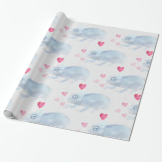 Valentine's Day Chameleon wrapping paper