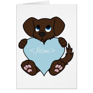 Valentine's Day Chocolate Dog - Light Blue Heart Greeting Card