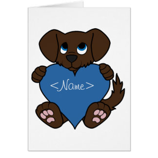 Valentine's Day Chocolate Dog with Blue Heart Greeting Card