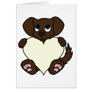 Valentine's Day Chocolate Dog with Cream Heart Greeting Card