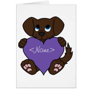 Valentine's Day Chocolate Dog with Purple Heart Greeting Card