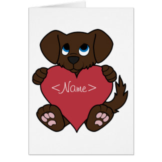 Valentine's Day Chocolate Puppy Dog with Red Heart Greeting Card