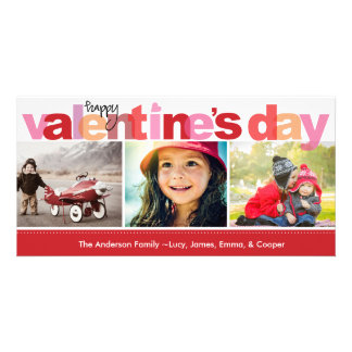 Valentine's Day Colorful Letters Personalized Photo Card