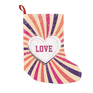 Valentines day colorful love design with heart small christmas stocking