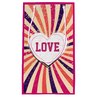 Valentines day colorful love design with heart small gift bag