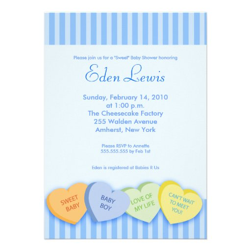 Valentines Day Conversation Heart Baby Shower Personalized Invites
