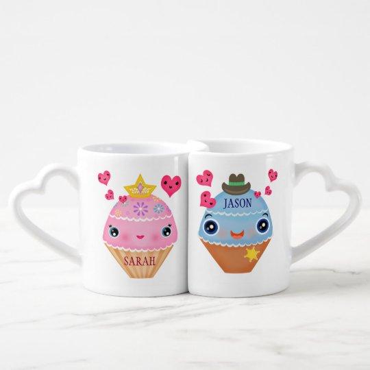 Valentine's Day Cupcake Couple Mug Set