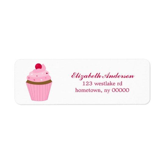 Valentines Day Cupcake Return Address Label