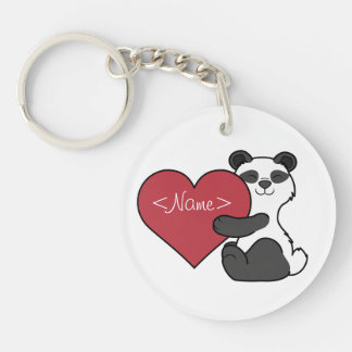 Valentine's Day Cute Panda Bear with Red Heart Single-Sided Round Acrylic Key Ring