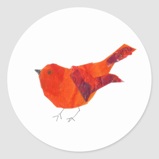 Valentine's Day Cute Red Bird Classic Round Sticker