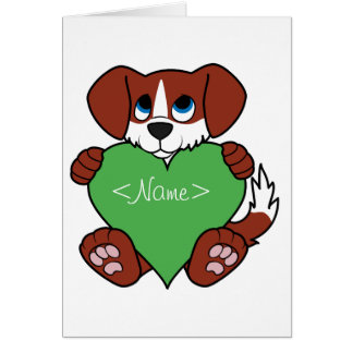 Valentine's Day Cute Red Dog with Green Heart Greeting Card