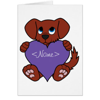 Valentine's Day Cute Red Dog with Purple Heart Greeting Card