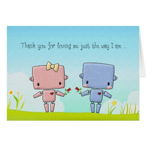 Valentine's Day Cute Robot Couple Cards
