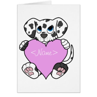Valentine's Day Dalmatian with Light Pink Heart Greeting Card