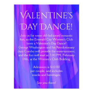 Valentine's Day Dance! Blue, Pink, and Violet 21.5 Cm X 28 Cm Flyer