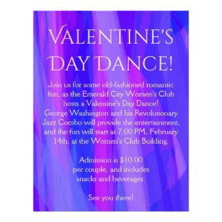 Valentine's Day Dance! Blue, Pink, and Violet 21.5 Cm X 28 Cm Flyer