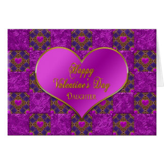 VALENTINE'S DAY - DAUGHTER - HEARTS - FUCHSIA CARD
