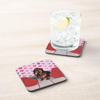 Valentine's Day - Dexter - Dachshund Beverage Coaster