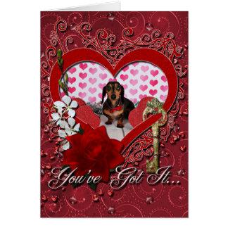 Valentine's Day - Dexter - Dachshund Greeting Card