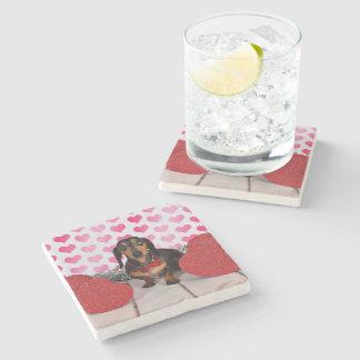 Valentine's Day - Dexter - Dachshund Stone Beverage Coaster
