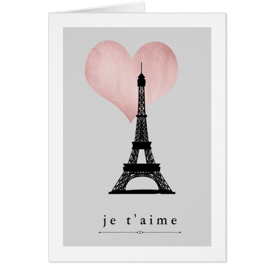 Valentine's Day Eiffel Tower with Rose Gold Heart
