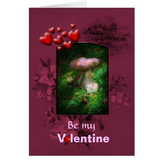 Valentines Day, Fairy Woodland Mushroom Card