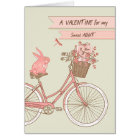 Valentine's Day for Aunt, Bicycle, Pink Rabbit Card