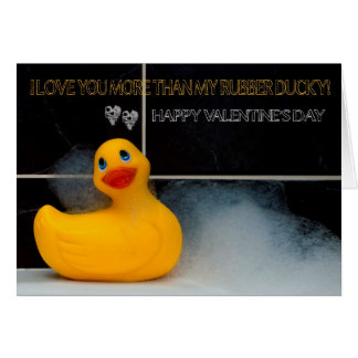 Valentine's Day Fun With Orange Rubber Ducky Greeting Card