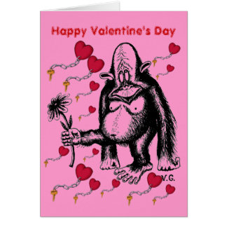 Valentine's day funny monkey card