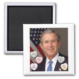 Valentine's Day George Bush Square Magnet