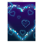 Valentine's Day Gift Blue Bling Heart Love Present Card