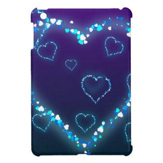 Valentine's Day Gift Blue Bling Heart Love Present iPad Mini Cover