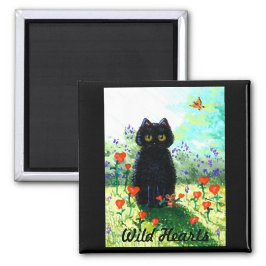 Valentine's Day Gift Cat Art Hearts Creationarts Magnet