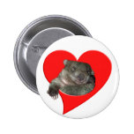 Valentine's Day Gifts, Wombat Love! Pinback Buttons