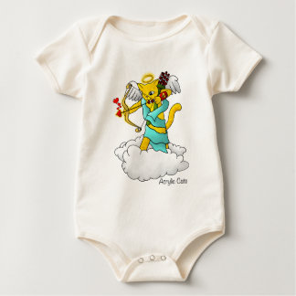 Valentine's Day Ginger Yellow Cupid Cat Baby Bodysuit