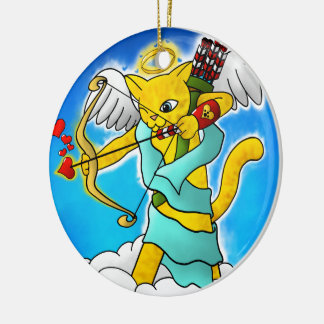 Valentine's Day Ginger Yellow Cupid Cat Christmas Ornament