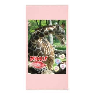 Valentine's Day Giraffe Personalized Photo Card