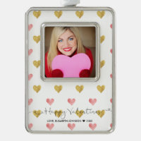 Valentines Day Glitter Heart Script Photo Ornament