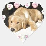 Valentine's Day Golden Retriever Heart Sticker