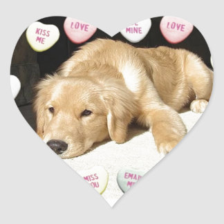 Valentine's Day Golden Retriever Heart Sticker